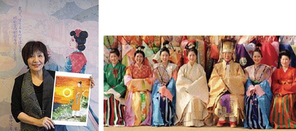 (左から)里中満智子氏、天平時代の衣装(過去に実施したファッションショーの様子)