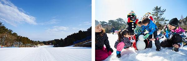 左から)メインゲレンデ、雪あそびの様子