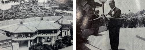 (左)1976年当時の様子、(右)中村三郎社長(開業当時)によるテープカットの様子