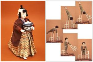 (左)茶運人形(江戸からくり) (右)アクロバットをするピエロ(自動人形)