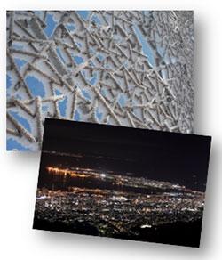 (上)自然体感展望台 六甲枝垂れの樹氷 (下)天覧台からの夜景