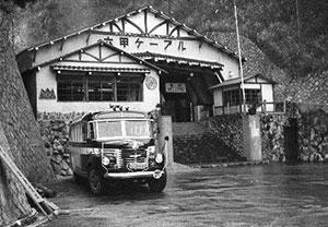土橋駅(現六甲ケーブル下駅)とボンネットバス ※年代不詳