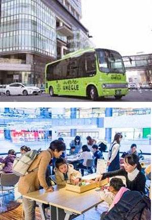 (上)梅田巡回バス「うめぐるバス」 (下)梅田スノーマンフェスティバル2017