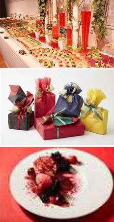 """(上)Collaboration Grand Wish Christmas 2017 """"WINTER IN RED"""" Opening Party (中)クリスマスギフトラッピングサービス (下)コラボメニュー展開"""