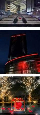 (上)シャドウグラフィック (中)Red Lighting (下)水景イルミネーション『Red Heart Gift』