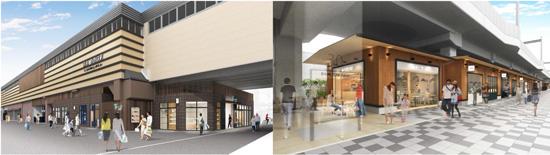 【左】洛西口駅東側から見た施設の外観イメージ 【右】洛西口駅(桂駅方面)の東側歩道から見た施設の外観イメージ