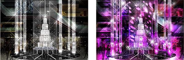 (左)通常時のツリーイメージ (右)ライティングショー時のツリーイメージ