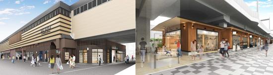 【左】洛西口駅東側から見た施設の外観イメージ【右】洛西口駅(桂駅方面)の東側歩道から見た施設の外観イメージ