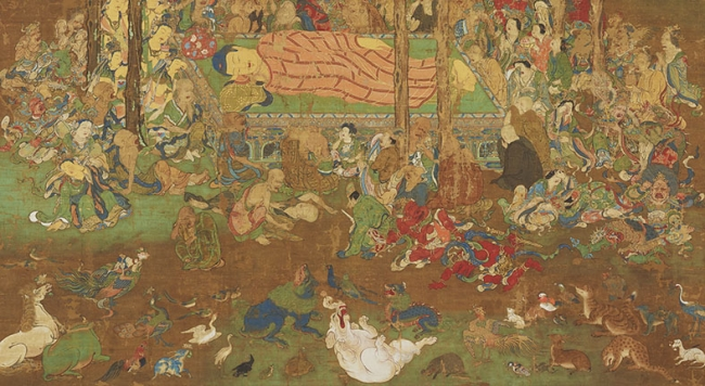 重要文化財 仏涅槃図(部分) 命尊筆 鎌倉時代・1323年 九州国立博物館