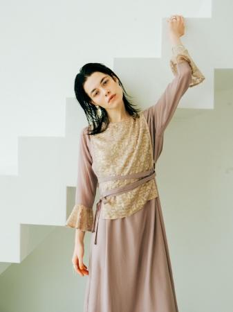 【3月上旬発売予定】Shiny Vest Layered Onepiece ¥15,800+tax