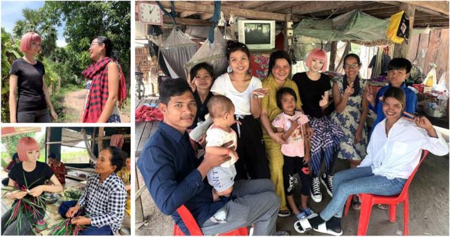 immaがカンボジアの村を訪れた様子。村では、パンナリー氏が支援する女性がものづくりをする。