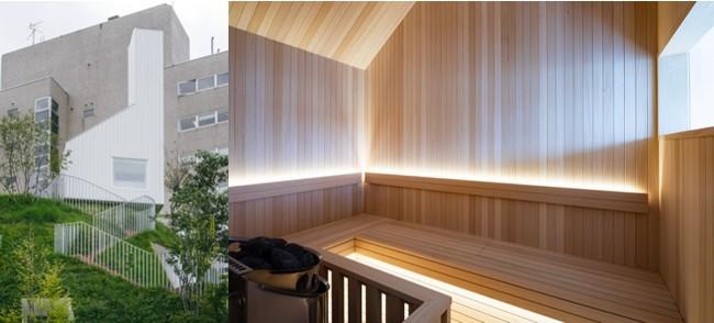 藤本壮介設計 緑の丘の上のサウナ 左(C)Katsumasa Tanaka 右(C)Shinya Kigure