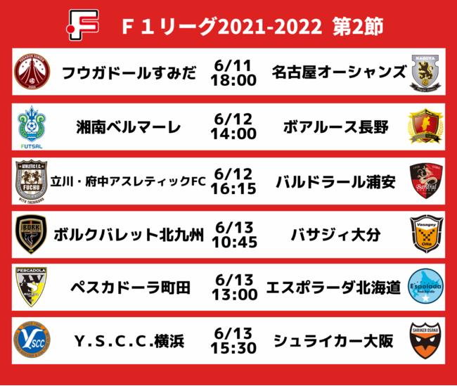 Fリーグ2021-2022 ディビジョン1 第2節 対戦カード