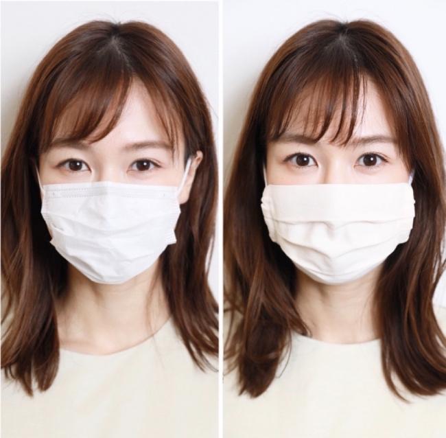 左:一般的な白いマスク 右:似合う色のマスク(irodori)