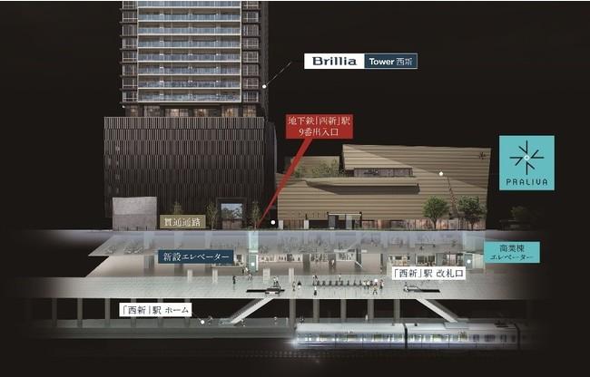 地下鉄「西新」駅 9 番出入口、BrilliaTower 西新との接続イメージ