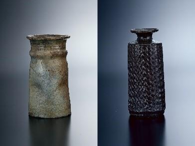 左)朝鮮唐津花生(江戸初期) 右)山本勘弥作品