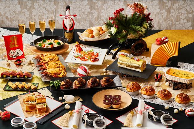 迎春ホームパーティーKITには、4名様のお料理と金箔ロールなどのデザートとお正月飾りがセットになっている