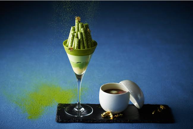竹をイメージしたスタイリッシュな抹茶パフェとお汁粉