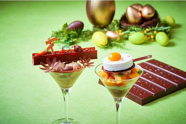 チョコレートでイースターを表現した2つのパフェは、 見ているだけでも楽しい気分にしてくれる