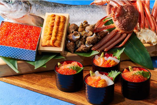 北海道産いくらとサーモンの親子丼と海鮮丼