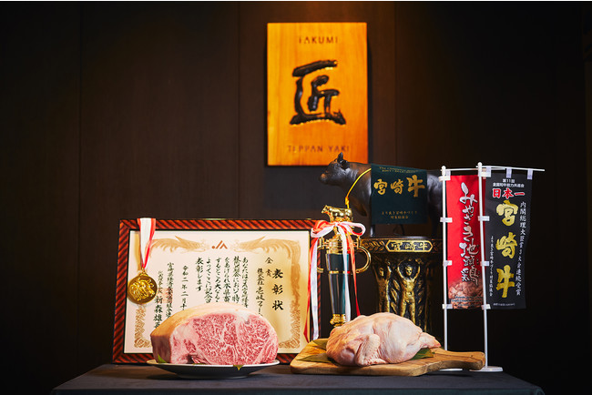 宮崎県「壱岐ファーム」より直送の宮崎牛やみやざき地頭鶏を使ったコースをご用意
