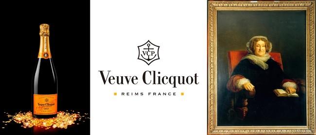 (左)ヴーヴ・クリコ イエローラベル ブリュット、(右)マダム・クリコ肖像画