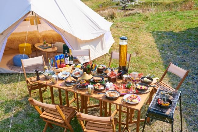 7月オープン予定の「温楽ノ森」では、天然温泉とグランピング、周囲でのアウトドアが楽しめる
