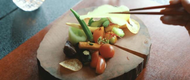 採れたての野菜をいた創作精進料理コース