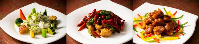 甲烏賊のあおさ炒め         鶏唐揚げと四川唐辛子の香り炒め    豚肉のシークヮーサー甘酢煮