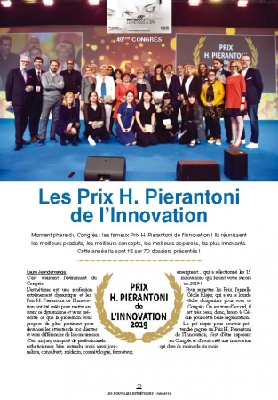 受賞の特集記事(Les Nouvelles Esthetique Spa 2019 年6月号)