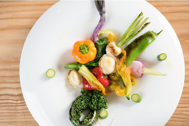 L'ORANGEの新鮮な野菜メニュー例