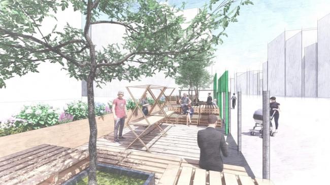 ▲リパーク広島基町駐車場の一部に展開するパレットを使った立体的なデッキ空間の検討イメージ