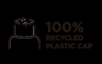 キャップは100%リサイクルプラ