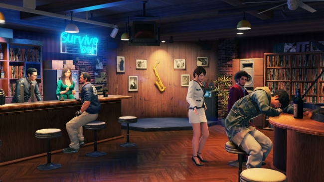Yakuza: Like a Dragon. The party rests between missions at the Survive bar.
