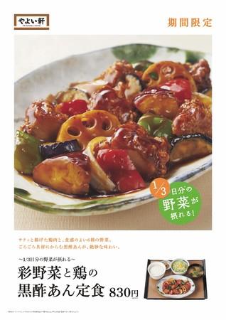 彩野菜と鶏の黒酢あん定食_ポスター