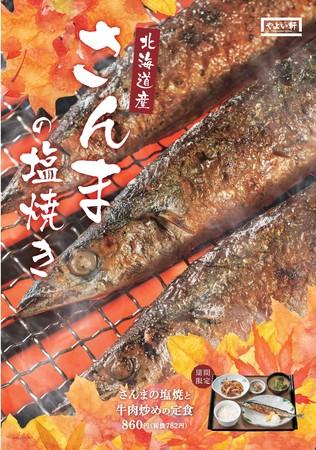 さんまの塩焼と牛肉炒めの定食_ポスター