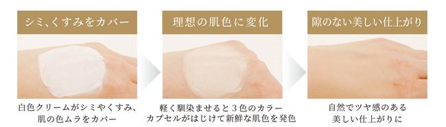 白色クリームから自然な肌色へ