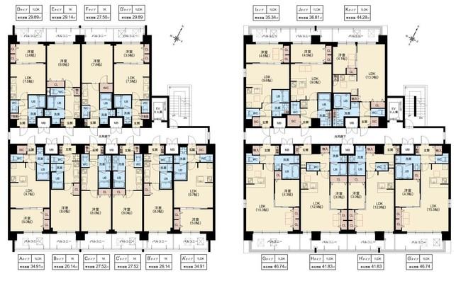 ・                          Gタイプ~Kタイプのお部屋はルネス工法採用(7~8階)
