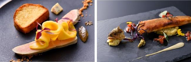 フォアグラナチュールとマンゴーブリオッシュ添え・若鮎のクルスティヤン焼茄子のタルタル神戸トマトとバルサミコ