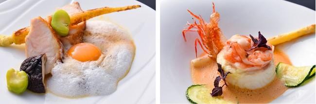 丹波地鶏胸肉の炭火焼き奥出雲の放飼い鶏の卵ジュソース・淡路由良産鮮魚と足赤海老のスフレクレームドオマール