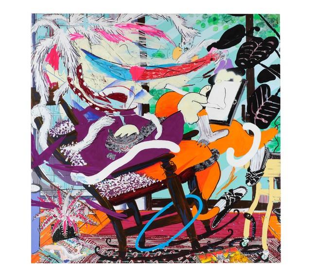 モリマサト Masato Mori 2020 Acrylic paint, acrylic spray, oil chalk, oil paint on canvas H205 x W205 x D3.5 cm