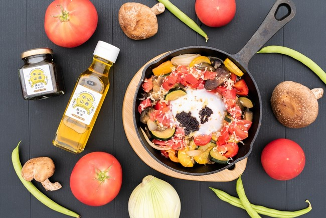 ▶ピザ窯料理 山鹿野菜と卵とキャビア ¥1,000    使用食材:菜の花オイル・菜の花キャビア(NPO法人ひらおぎ)など