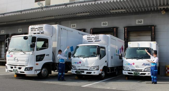 左から:4トンワイド車、2トン車、1トン車