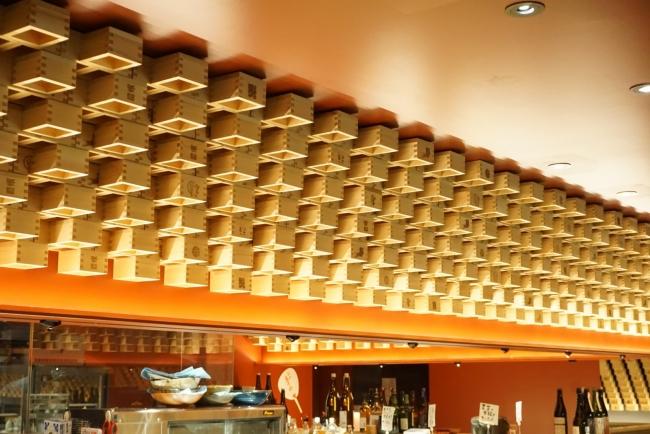 枡を用いた飲食店の内装デザイン(「日本酒とおばんざいのお店 おざぶ」京都市中京区中島町110 地下1階)
