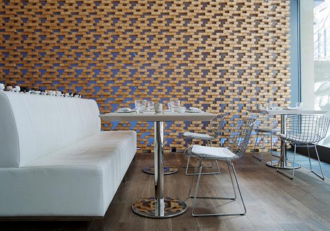 枡を用いたレストランの内装デザイン(アゼルバイジャン)