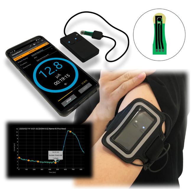 図:汗乳酸センサ使用イメージ (※本デバイスは開発中であり、未承認の製品です)