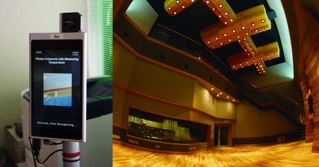 左:受付に設置された「SenseThunder」  右:究極のハイクオリティ・レコーディングを実現するスタジオ環境