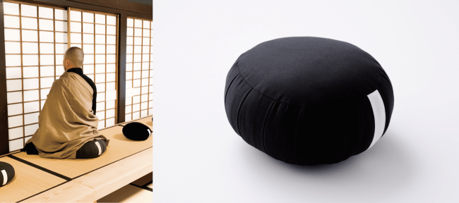 実際に寺の座禅では、ひだのついた円形の座禅クッションが伝統的な形状です