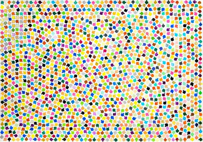 長村良彦 《カラフルきのこ》 アクリル絵の具、鉛筆、紙 380×540mm 2020年