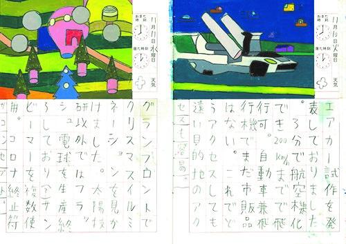 長嶋柊 「2021年5月21-22日」 日記帳、鉛筆、オイルパステル